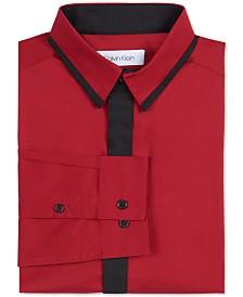 Calvin Klein Big Boys Slim-Fit Stretch Contrast Placket Dress Shirt