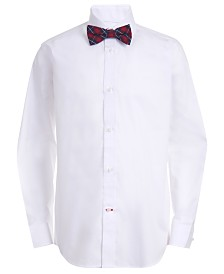 Tommy Hilfiger Big Boys 2-Pc. Classic/Regular-Fit Stretch Poplin Shirt & Plaid Bow Tie Set