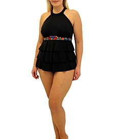 Folkloric Embroidered Band High Neck 3 Tier Tankini