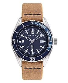 Nautica N83 Men's Urban Surf Brown, Navy Leather Strap Watch 44mm