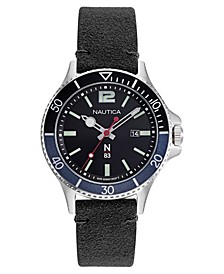 N83 Men's Accra Beach Black, Blue Nubuk Leather Strap Watch 43mm