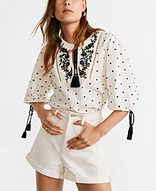 Embroidered Cord Blouse