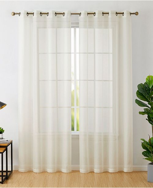 HLC.me Lumino by Perth Semi Sheer Grommet Curtain Panels - 54 W x 45 L - Set of 2