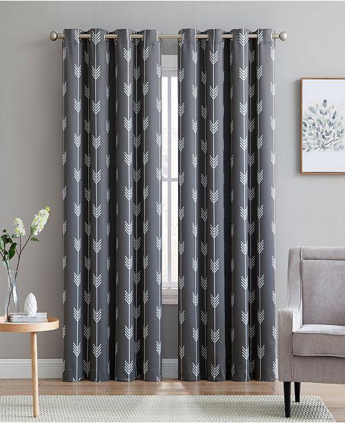 "HLC.me Obscura By Brisbane Print Blackout Grommet Curtain Panels - 52"" W X 63"" L - Set of 2"