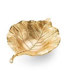 Gold Leaf Shaped Bowl with Vein Design