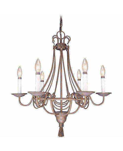 Volume Lighting Kuta 6-Light Tasseled Rope Hanging Chandelier
