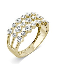 Moissanite Three Row Fashion Band 9/10 ct. t.w. Diamond Equivalent in 14k Yellow Gold