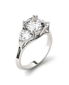 Moissanite Three Stone Ring 3 ct. t.w. Diamond Equivalent in 14k White Gold