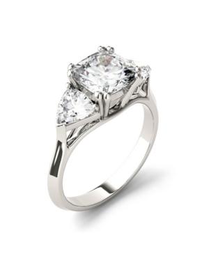 Moissanite Three Stone Ring 3 ct. t.w. Diamond Equivalent in 14k White Gold