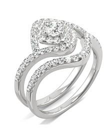 Moissanite Halo Bridal Set 7/8 ct. t.w. Diamond Equivalent in 14k White Gold