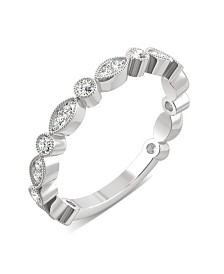Moissanite Milgrain Band 1/3 ct. t.w. Diamond Equivalent in 14k White Gold