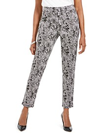 Petite Jaquard Pull-On Pants, Created For Macy's