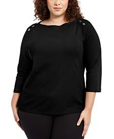 Plus Size Grommet-Trim Envelope-Neck Top, Created For Macy's