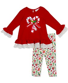 Rare Editions Little Girls 2-Pc. Candy Cane Top & Leggings Set