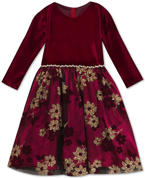 Rare Editions Little Girls Glitter-Print Velvet Dress