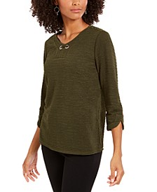 Petite 3/4-Sleeve Textured Top