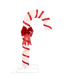 72-Inch-High, Lighted Snowflake Fabric Lantern Candy Cane