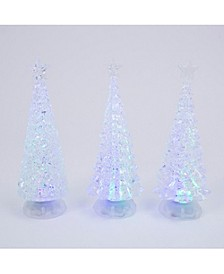 Assorted Battery-Operated Spinning Water Globes Tree with Timer Feature - Set of 3