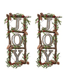 "Natural Twig ""JOY"" Door Wreaths with Berry and Pine Cone Accents - Set of 2"