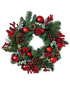 PVC Pine Wreath with Various Pine Styles, Ornaments, and Berry and Leaf Accents