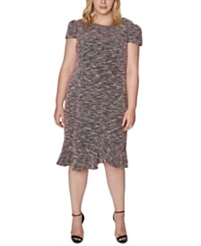 Betsey Johnson Trendy Plus Size Tweed Flounce Sheath Dress