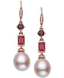 EFFY® Pink Cultured Freshwater Pearl (12 x 10mm), Multi-Gemstone (2 ct. t.w.) & Diamond (1/8 ct. t.w.) Drop Earrings in 14k Rose Gold