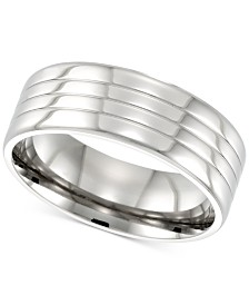 LEGACY for MEN by Simone I. Smith Textured Ring in Stainless Steel