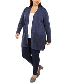 Plus Size Patterned-Border Cardigan Sweater, Created For Macy's