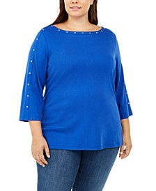 Plus Size Studded Boat-Neck Top, Created for Macy's