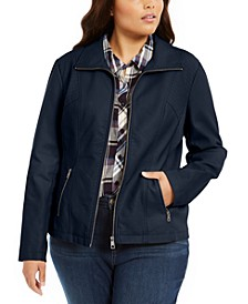 Plus Size Faux-Leather Moto Jacket, Created For Macy's