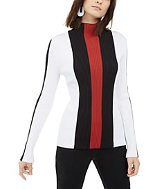 INC Mock-Neck Colorblocked-Stripe Top, Created For Macy's