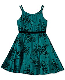 Big Girls Flocked Glitter Dress