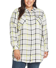 Plus Size Highlighter Plaid 2-Pocket Tunic