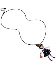 "Two-Tone Crystal & Bead Cat-Witch Pendant Necklace, 32""+ 3"" extender"