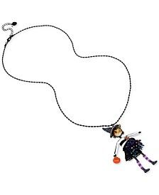 """Betsey Johnson Two-Tone Crystal & Bead Cat-Witch Pendant Necklace, 32""""+ 3"""" extender"""