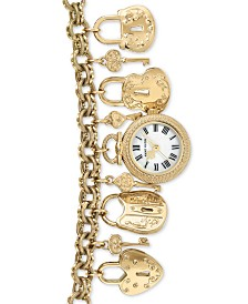 Anne Klein Women's Gold-Tone Charm Bracelet Watch 22mm