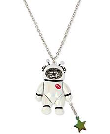 """Two-Tone Pavé Astronaut Bear Pendant Necklace, 32"""" + 3"""" extender"""