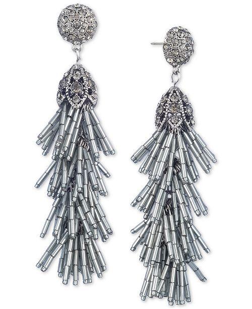 Jenny Packham Crystal & Beaded Tassel Linear Drop Earrings