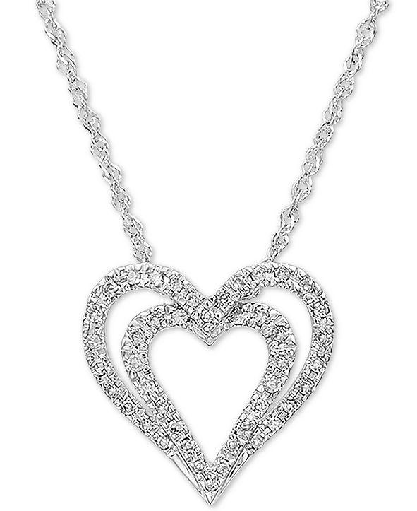 "Macy's Diamond Heart 18"" Pendant Necklace (1/6 ct. t.w.) in 10k White Gold"