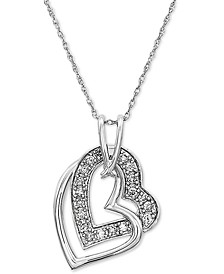 """Diamond Double Heart 18"""" Pendant Necklace (1/4 ct. t.w.) in 10k White Gold"""