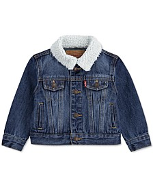 Baby Boys Faux-Sherpa-Trimmed Denim Trucker Jacket