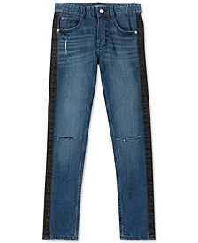 Big Boys Skinny-Fit Stretch Side-Stripe Destroyed Jeans