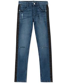 Big Boys Skinny-Fit Stretch Side-Stripe Destroyed Jeans