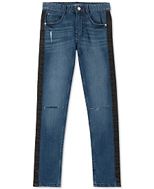 Calvin Klein Jeans Big Boys Skinny-Fit Stretch Side-Stripe Destroyed Jeans