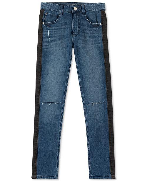 Calvin Klein Big Boys Skinny-Fit Stretch Side-Stripe Destroyed Jeans
