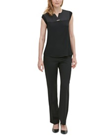 Calvin Klein Mixed-Media V-Neck Hardware Top