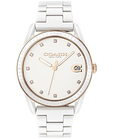 COACH Women's Preston White Ceramic Bracelet Watch 36mm
