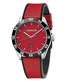 Unisex Complete Red & Black Silicone Strap Watch 42mm