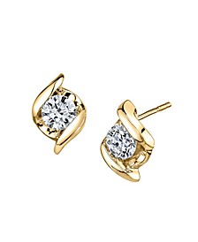Diamond (1/5 ct. t.w.) Twist Earrings in 14k Yellow Gold