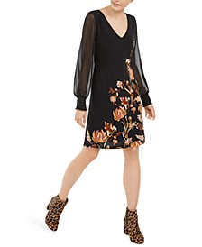 INC Floral-Print Statement-Sleeve Dress, Created For Macy's